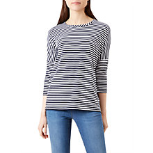 Buy Hobbs Stripe Scout Top, White/Navy Online at johnlewis.com