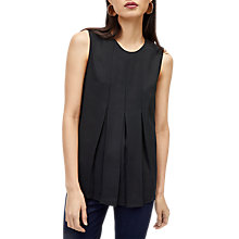 Buy Warehouse Sleeveless Box Pleat Top, Black Online at johnlewis.com