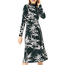 Buy Warehouse Barbican Climbing Bamboo Print Midi Dress, Green/White Online at johnlewis.com