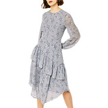 Buy Warehouse Anais Floral Ruffle Dress, Light Blue Online at johnlewis.com