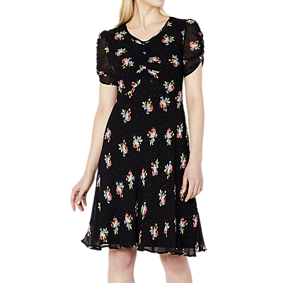 Ghost Dotty Floral Nettie Dress, Black/Multi