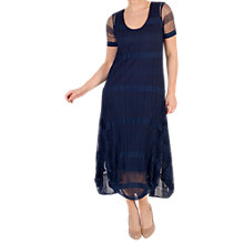 Buy chesca Sheer & Stripe Crush Pleat Drape Dress, Navy Online at johnlewis.com