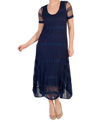 Chesca Sheer & Stripe Crush Pleat Drape Dress, Navy