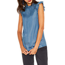 Buy Oasis Prairie Frill Top, Denim Online at johnlewis.com