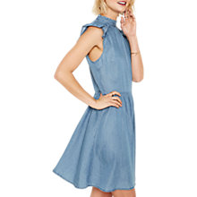 Buy Oasis Prairie Skater Dress, Denim Online at johnlewis.com