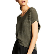 Buy Mint Velvet Tape Yarn Slouchy Knitted Top, Khaki Online at johnlewis.com