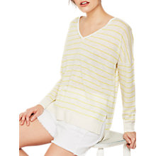 Buy Mint Velvet Stripe V-Neck Boxy Jumper, Multi Online at johnlewis.com
