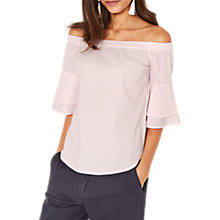 Buy Oasis Bardot Ticking Stripe Top, Multi/Pink Online at johnlewis.com