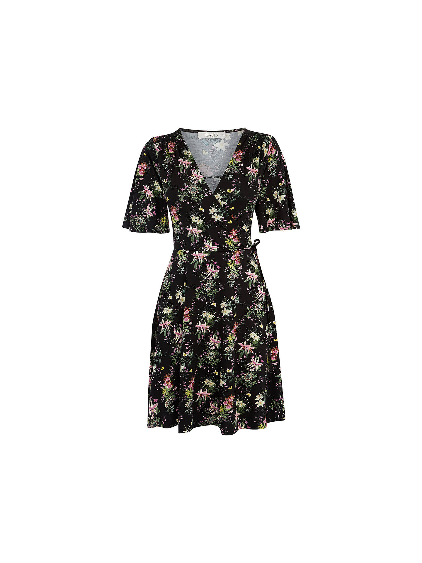 d9f713501744 ... Buy Oasis Kelsey Angel Sleeve Mini Dress, Multi/Black, XS Online at  johnlewis ...