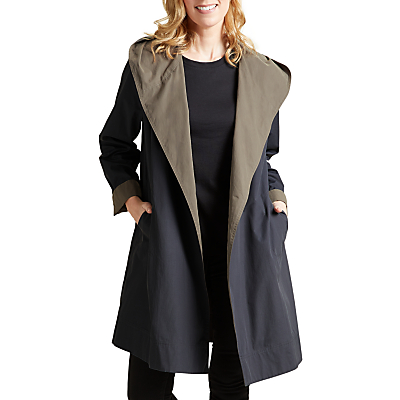 Four Seasons Hooded Two-Toned Wrap Coat, Steel/Taupe