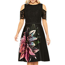 Buy Oasis Lily Cold Shoulder Skater Dress, Multi/Black Online at johnlewis.com