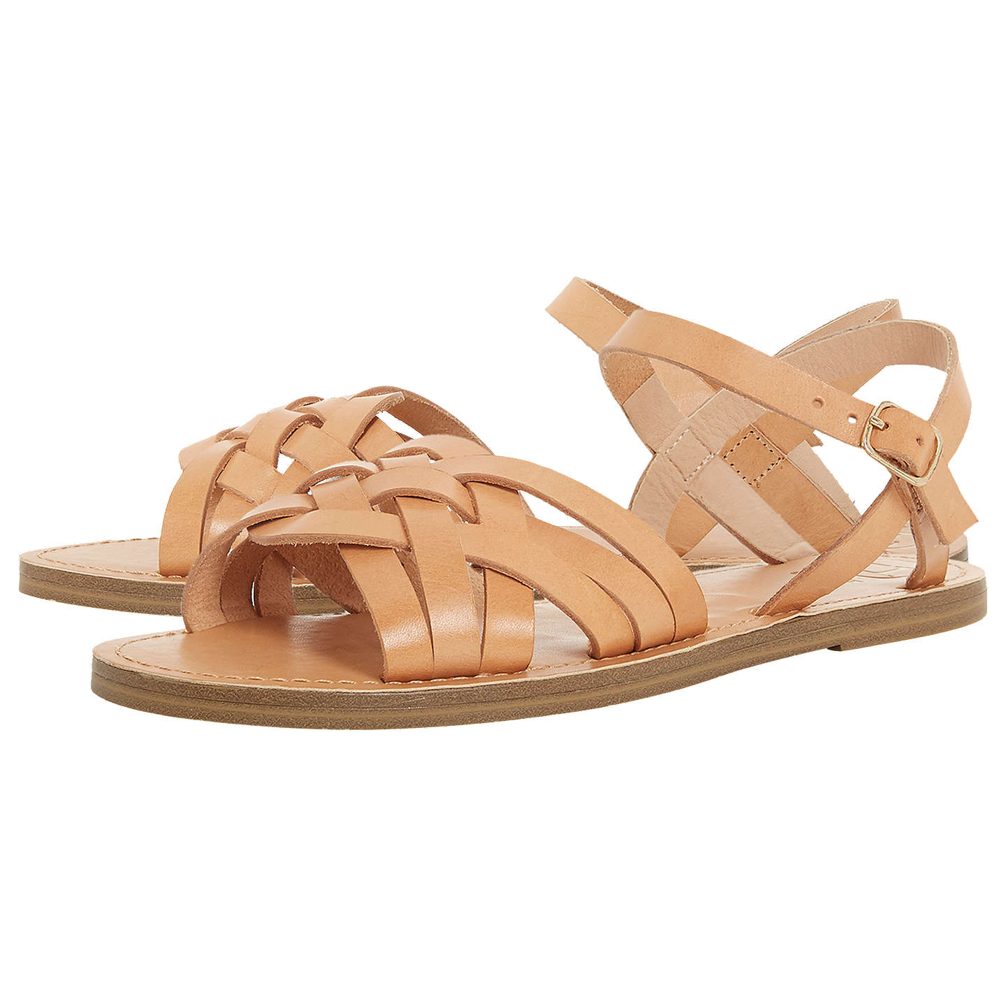 BuyDune Lattice Flat Sandals, Tan Leather, 3 Online at johnlewis.com