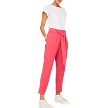 Buy Mint Velvet Belted Paperbag Trousers, Fuchsia Online at johnlewis.com
