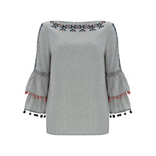 Buy Mint Velvet Pom Pom Top, Light Grey Online at johnlewis.com