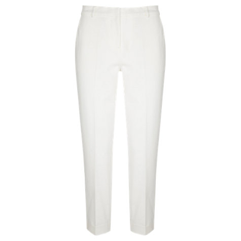 Buy Mint Velvet Stretch Cotton Cropped Trousers, Ivory Online at johnlewis.com
