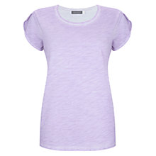 Buy Mint Velvet Petal Sleeve T-Shirt, Lilac Online at johnlewis.com