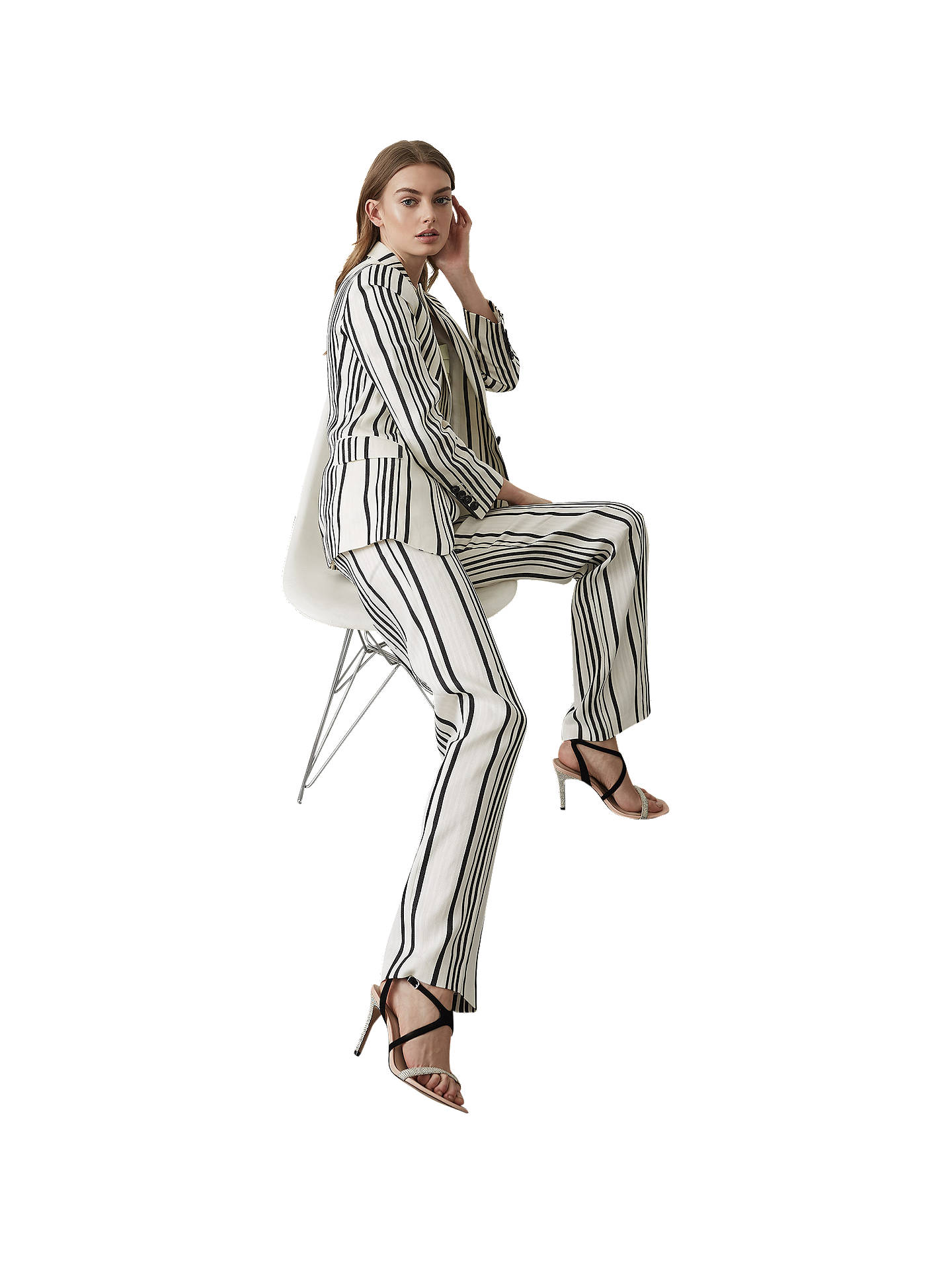 Buy Reiss Rodeo Striped Blazer Jacket, White/Black, 6 Online at johnlewis.com