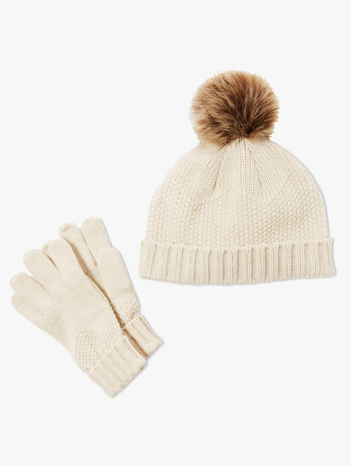 Buy John Lewis & Partners Children's Beanie And Gloves Set, Cream, 3-5 years Online at johnlewis.com