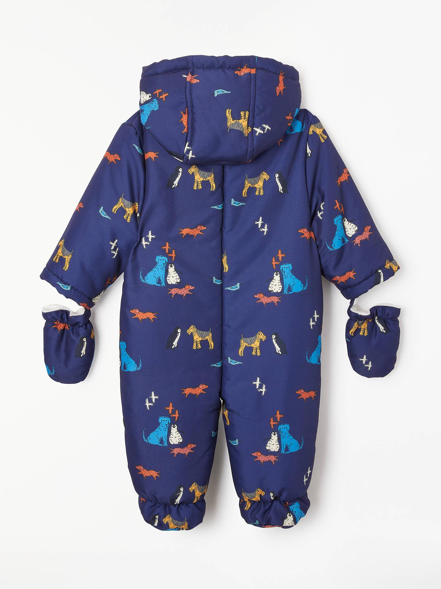 ef0676555 ... Buy John Lewis & Partners Baby Isle Of Dogs Snowsuit, Navy, Newborn  Online at ...