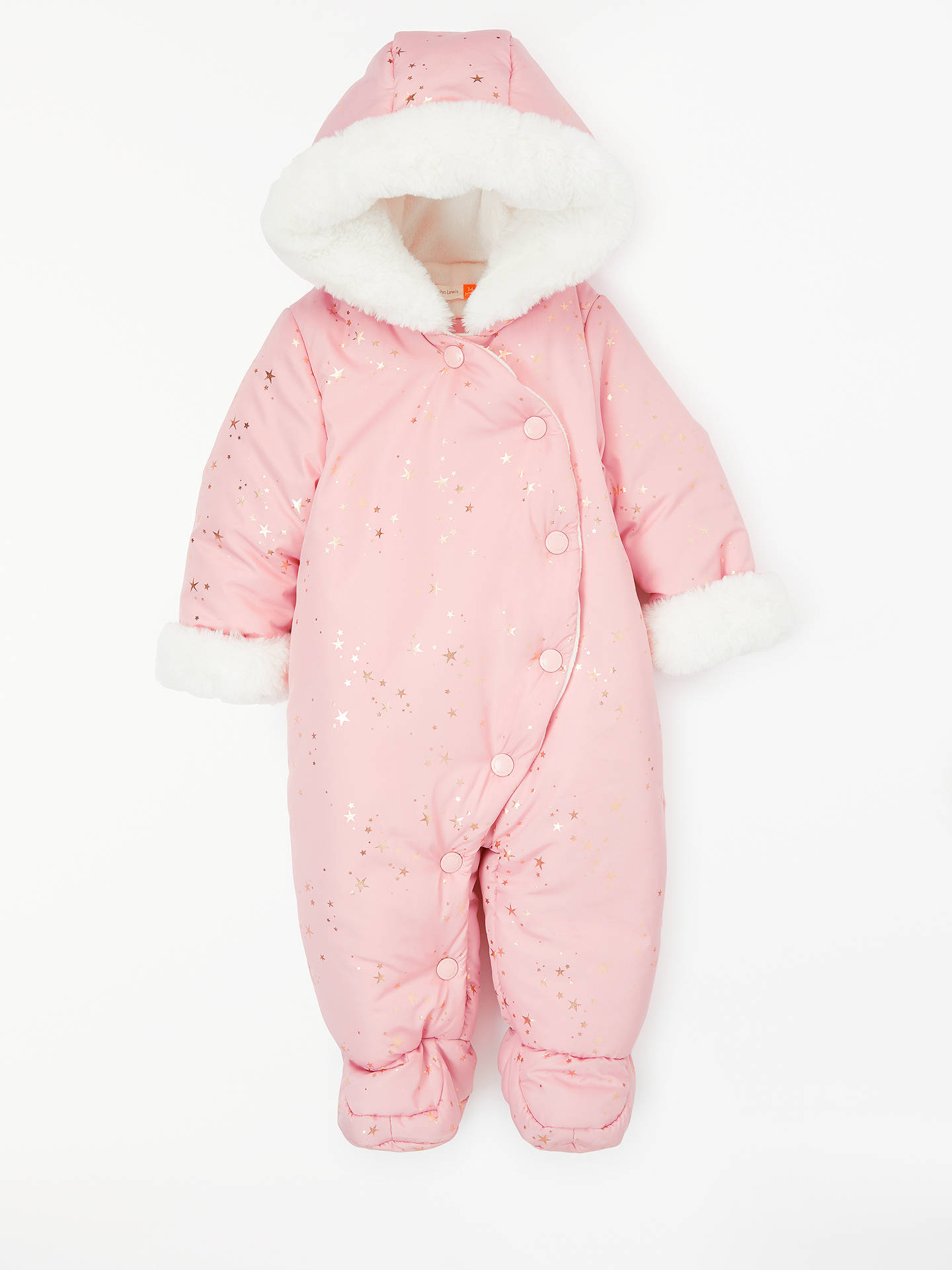 0534dd87a Buy John Lewis & Partners Baby Star Snowsuit, Pink, Newborn Online at  johnlewis.