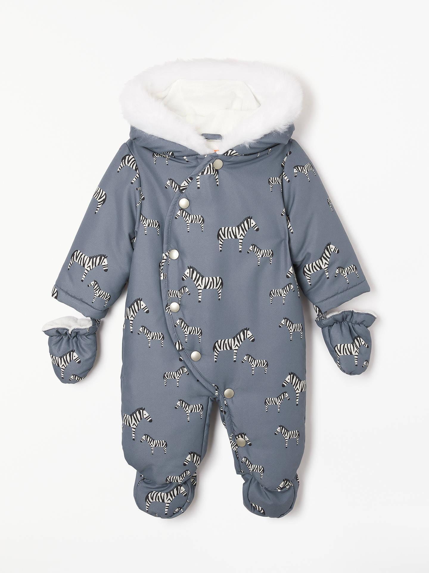 John Lewis Amp Partners Baby Zebra Snowsuit Grey At John