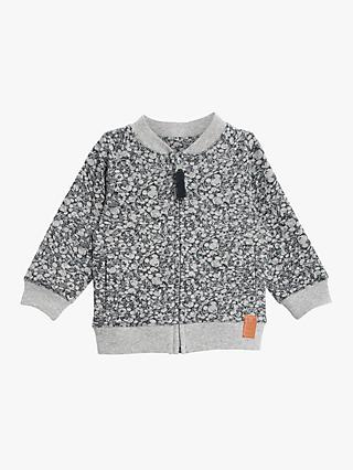 Wheat Baby Mickey The Mouse Print Sweat Cardigan, Navy
