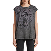 Buy AllSaints Sabre Brooke T-Shirt, Ash Black Online at johnlewis.com