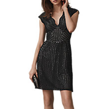 Buy Reiss Marianna Lace Fit And Flare Dress, Black Online at johnlewis.com