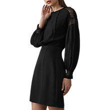 Buy Reiss Lia Lace Shoulder Dress, Black Online at johnlewis.com