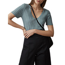 Buy Reiss Aster Rib V-Neck Top Online at johnlewis.com
