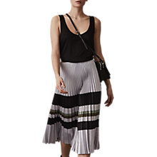 Buy Reiss Sophia Metallic Pleat Skirt, Silver Online at johnlewis.com