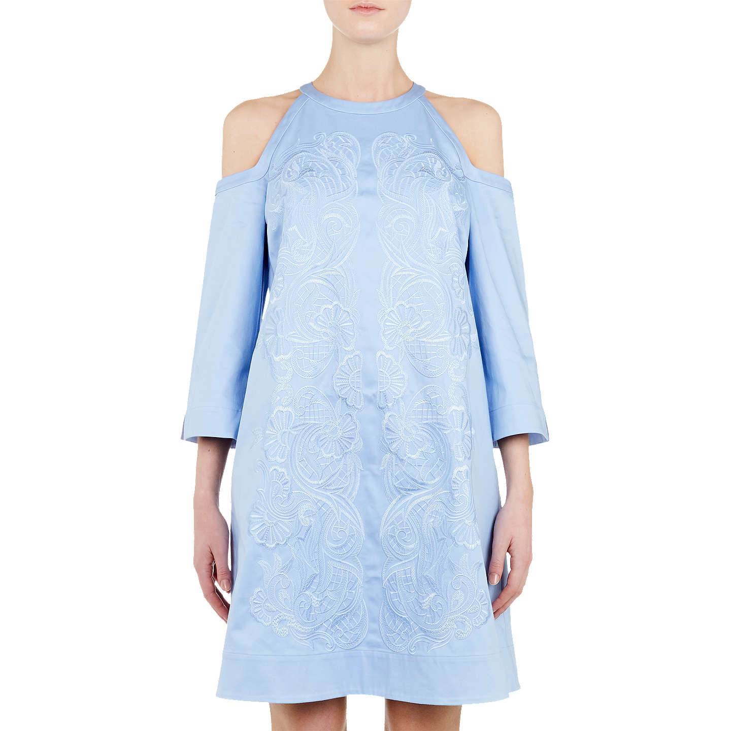 Ted Baker Jettas Cut Out Shoulder Cotton Rich Dress Baby Blue at