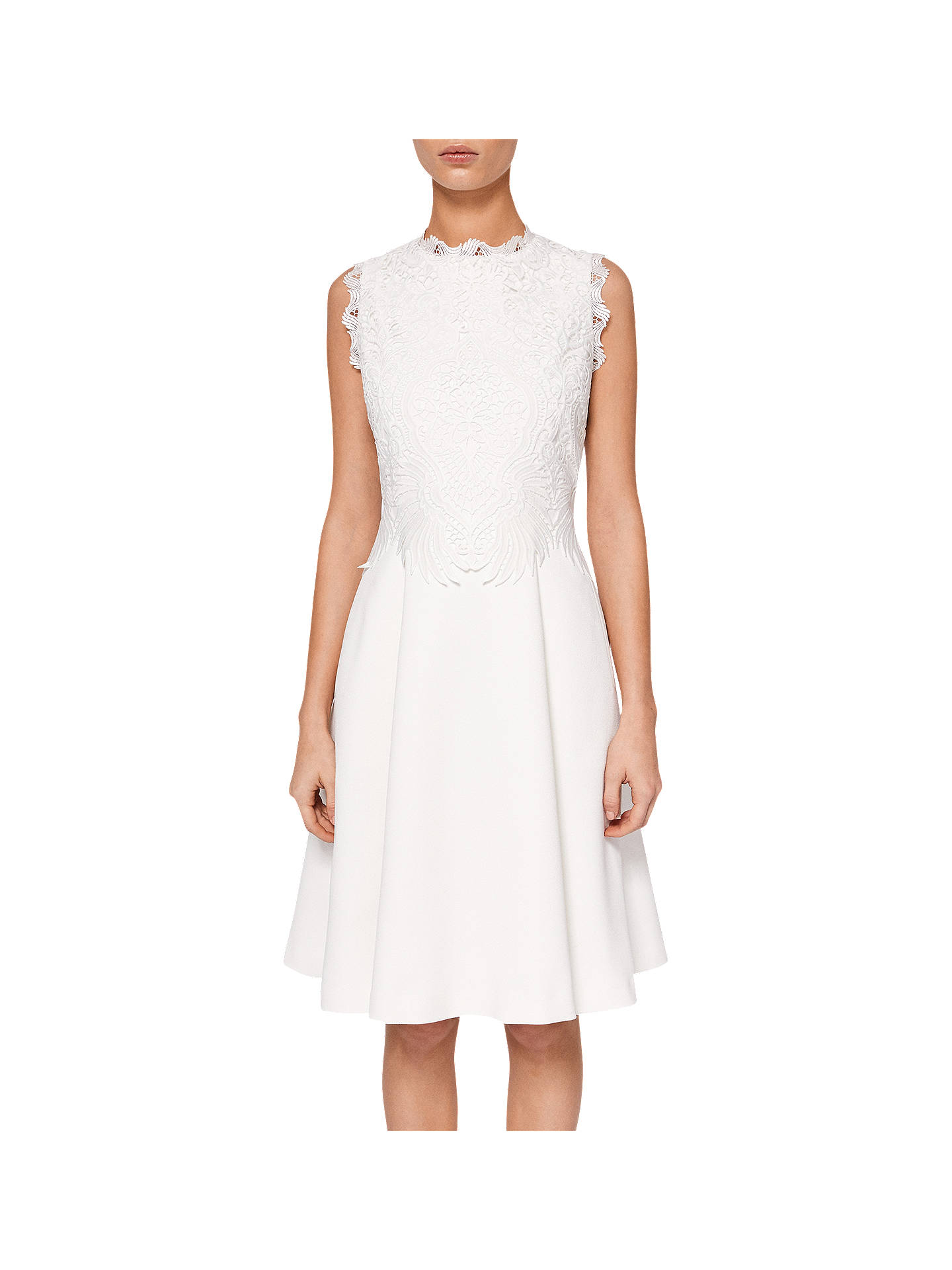 BuyTed Baker Lexiie Lace Bodice Structured Dress, Natural, 0 Online at johnlewis.com