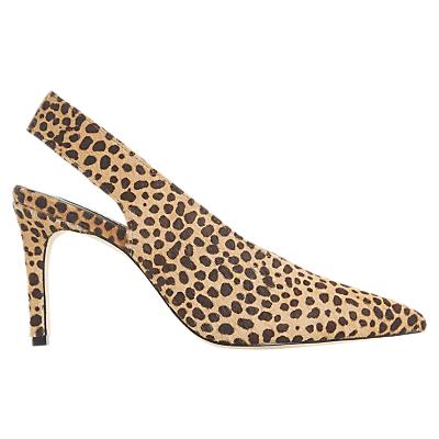 Dune Black Caia Slingback Court Shoes, Leopard