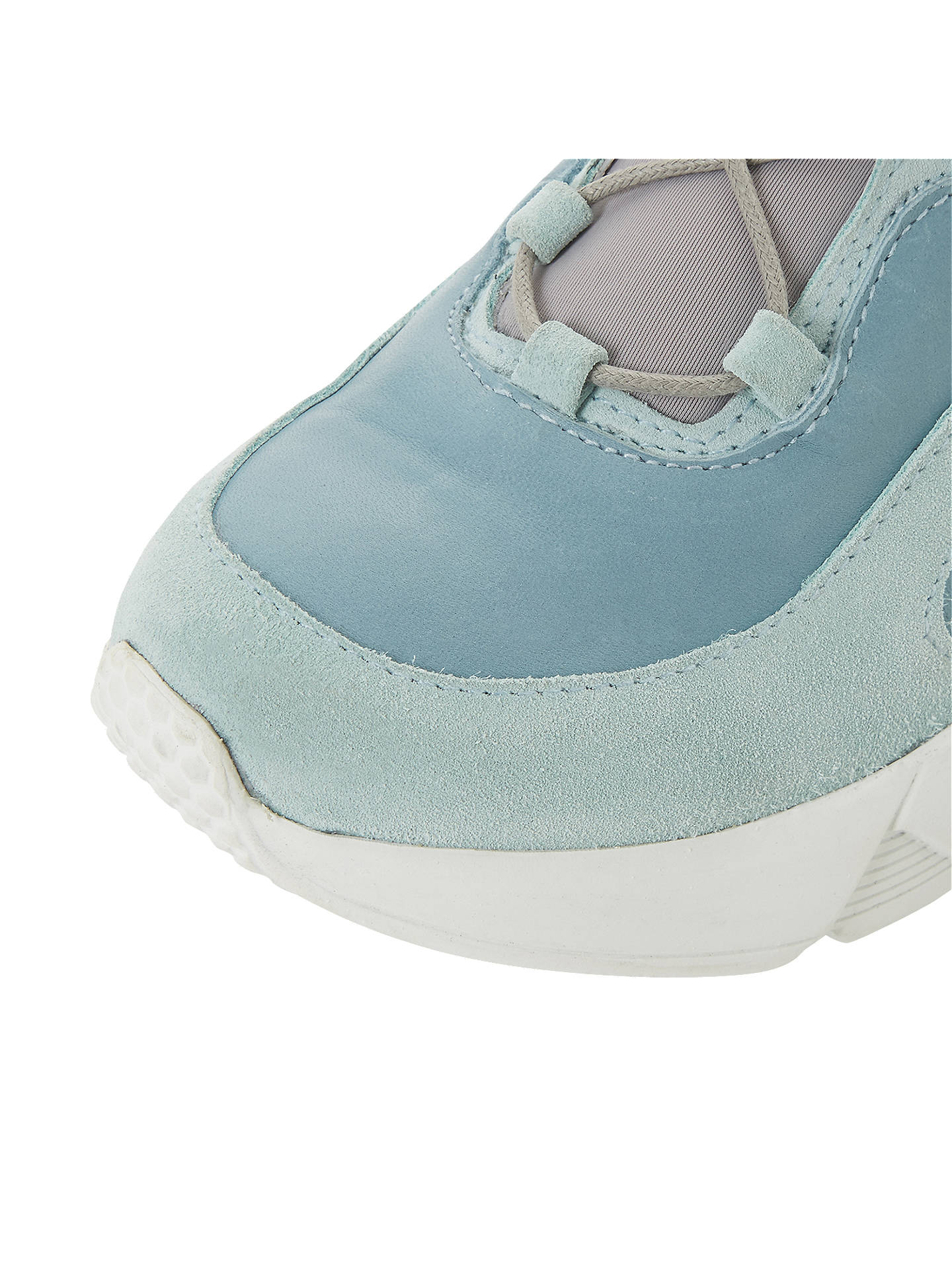 BuyDune Black Eleanora Lace Up Trainers, Blue Leather, 3 Online at johnlewis.com