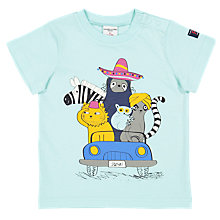 Buy Polarn O. Pyret Baby GOTS Organic Cotton Graphic Animal Print T-Shirt, Blue Online at johnlewis.com
