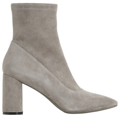 Dune Black Oslowh Block Heel Ankle Boots, Taupe Suede