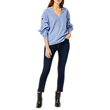 Buy Warehouse Stripe Tuck Sleeve Top, Blue Stripe Online at johnlewis.com