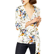 Buy Warehouse Trailing Floral Wrap Top, Cream Online at johnlewis.com