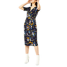 Buy Warehouse Trailing Floral Midi Dress, Navy Online at johnlewis.com
