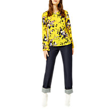 Buy Warehouse Trailing Floral Pleat Top, Yellow Online at johnlewis.com