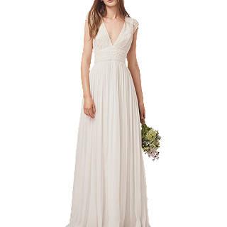 French Connection Palmero Embellished Wedding Dress, Summer White