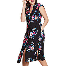 Buy Yumi Curves Floral Split Hem Dress, Black Online at johnlewis.com