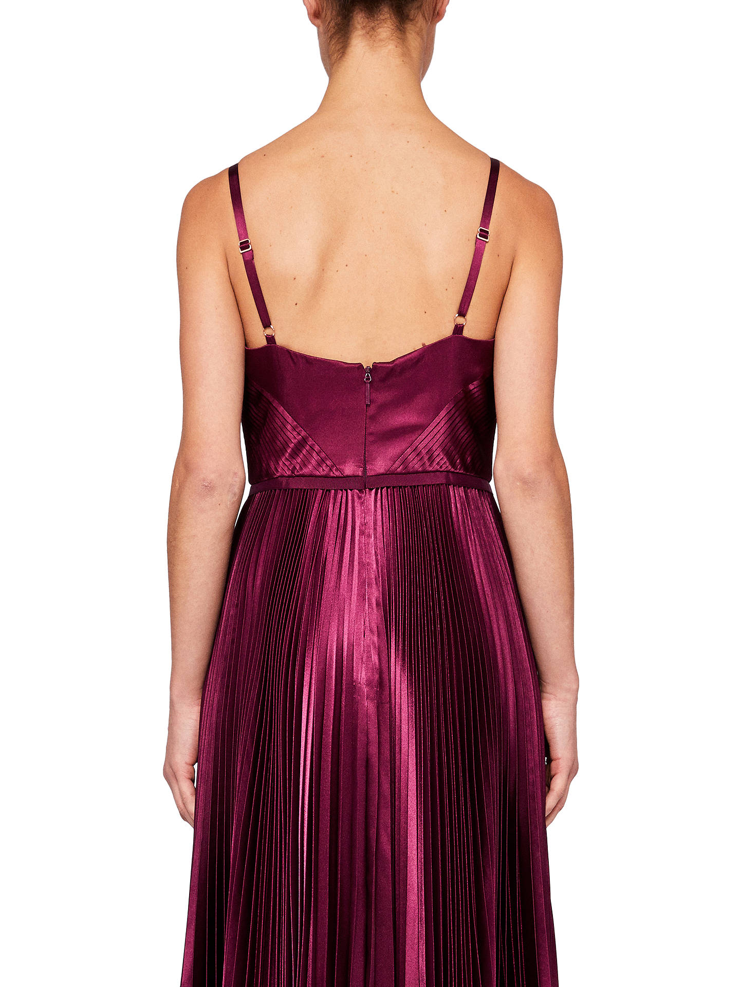Buy Ted Baker Pleat Satin Maxi Dress, Deep Purple, 0 Online at johnlewis.com