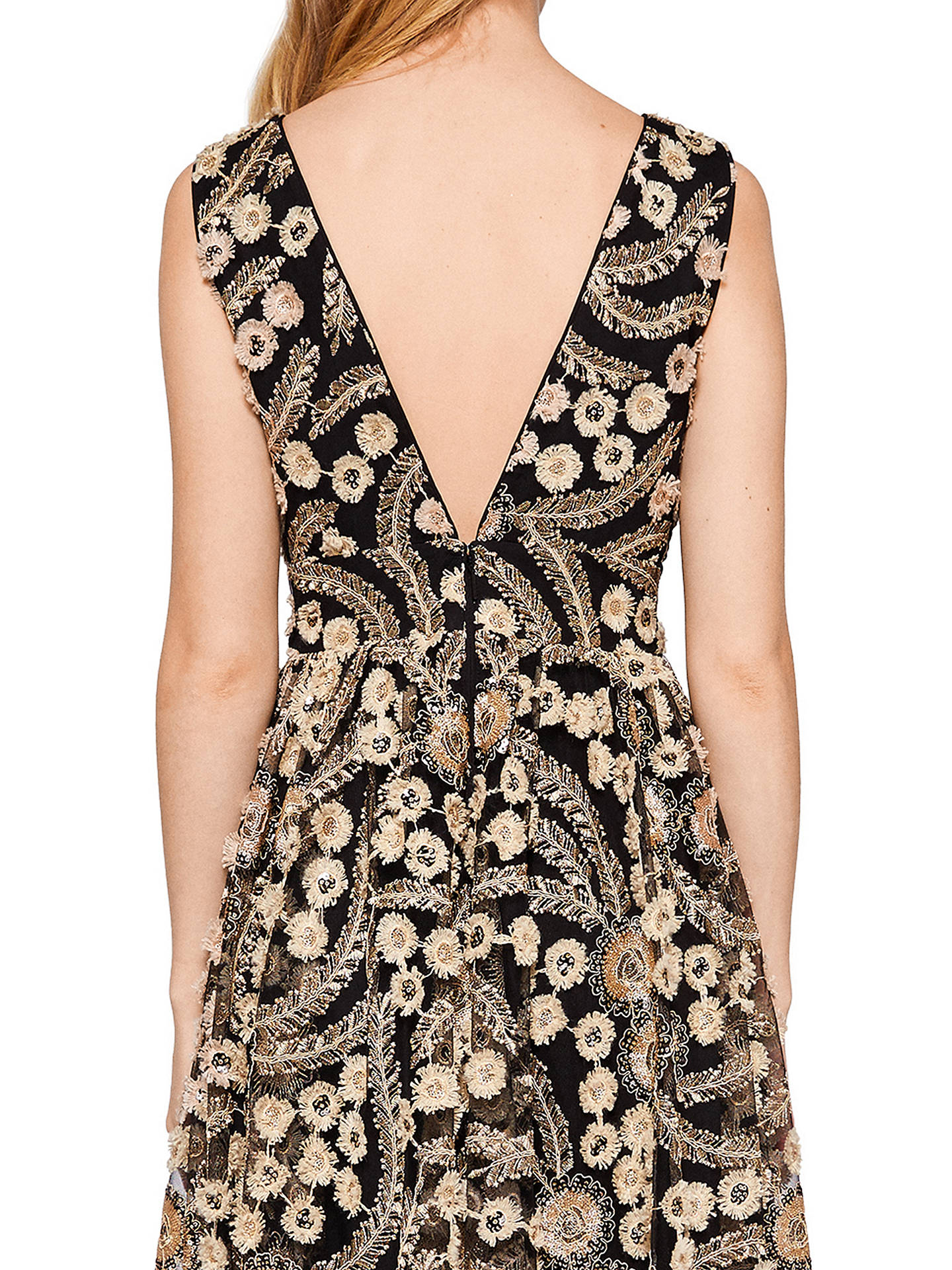 BuyTed Baker Reeda Double Layer Low V Back Dress, Black, 0 Online at johnlewis.com