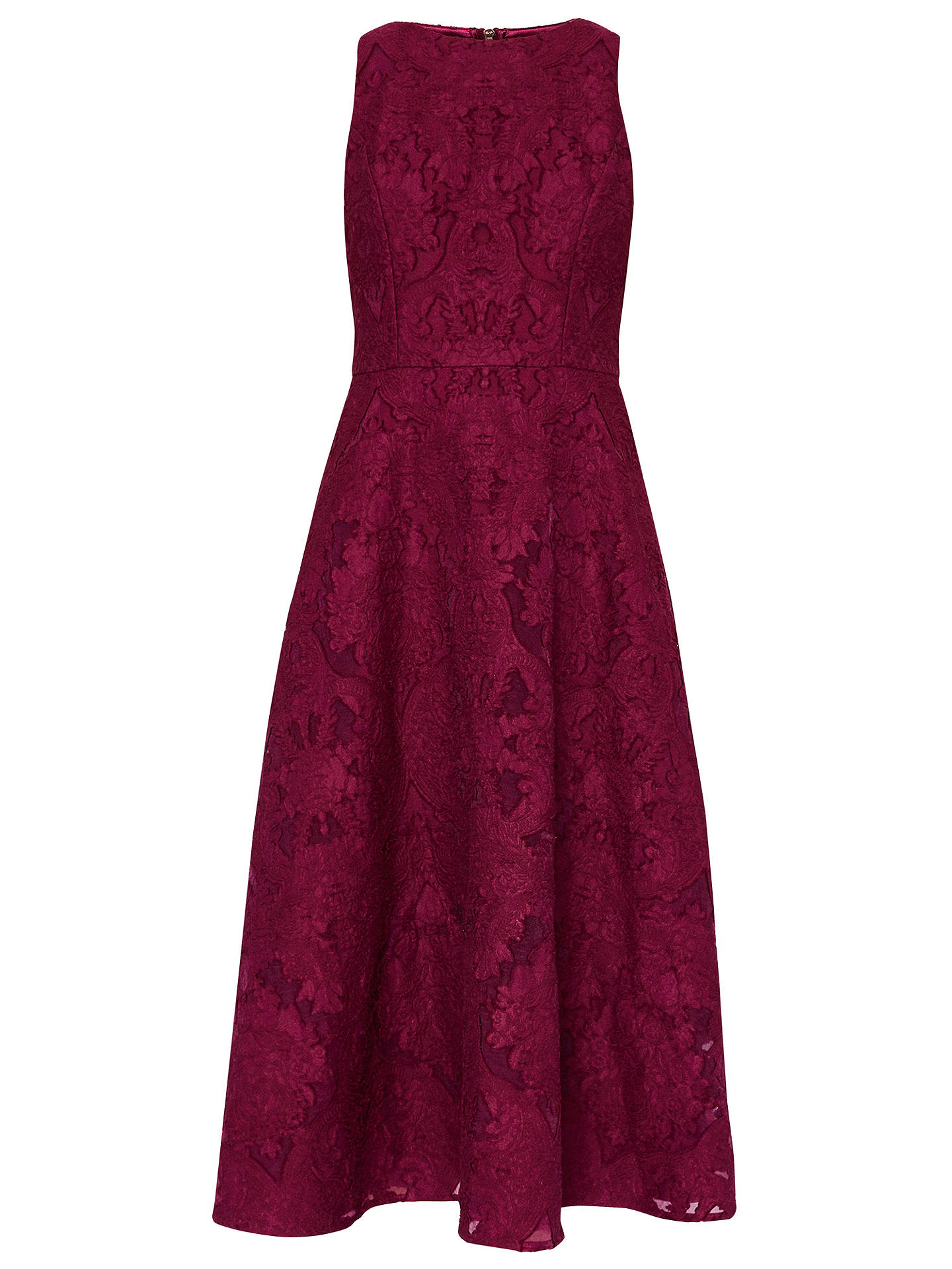 Buy Ted Baker Roshi Burnout Jacquard Midi Dress, Deep Purple, 0 Online at johnlewis.com