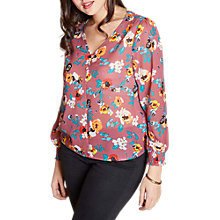 Buy Yumi Curves Spring Floral Button Top, Mauve Online at johnlewis.com