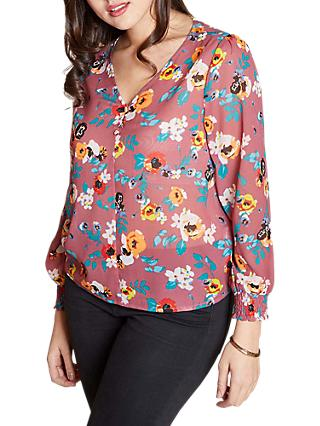 Yumi Curves Spring Floral Button Top, Mauve