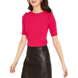 Oasis Frill Shoulder Jumper, Mid Pink