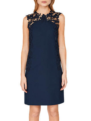 Buy Ted Baker Tie The Knot Andreti Applique Lace Detail Tunic Dress, Navy, 1 Online at johnlewis.com